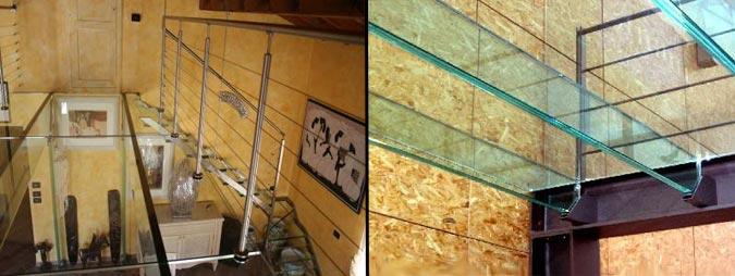 Pavimento in vetro per il soppalco
